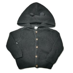 Knit Button-down Sweater with Hood 12m